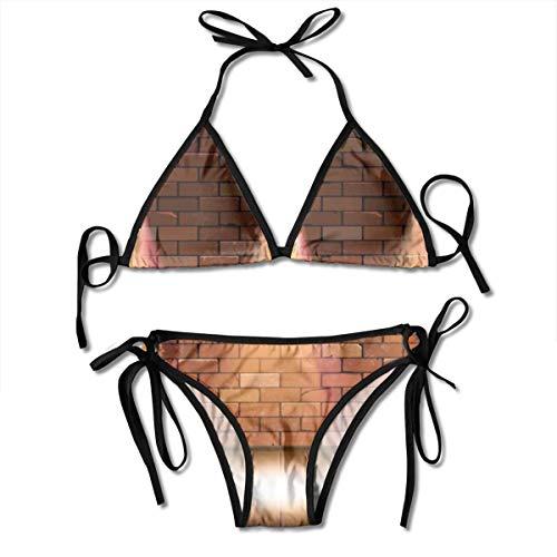 Frauen alte Retro DREI Lampe auf Backsteinmauer Zweiteilige Bikini-Set Swinwear Beachwear Trainingsanzug Sportswear