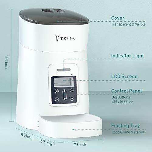 TSYMO Automatic Cat Feeder - 1-6 Meals Auto Dog Food Dispenser with Anti-Clog Design, Timer Programmable, Voice Recording & Portion Control for Small & Medium Pets (4 L White)