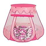 Selonis Tente 105X90cm/200 Balles Château Avec Les Balles Plastiques Piscine À Balles Pour Enfants, Rose: Gris-Blanc-Rose
