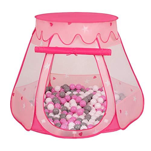 Selonis Baby Spielzelt Mit Plastikbällen Zelt 105X90cm/200 Bälle Plastikkugel Kinder, Pink:Grau-Weiß-Pink