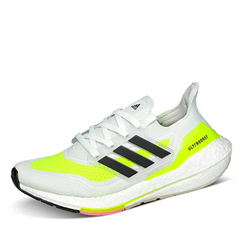 adidas Men's Ultraboost 21 Running Shoe, FTWR White/Core Black/Solar Yellow, 8.5 UK