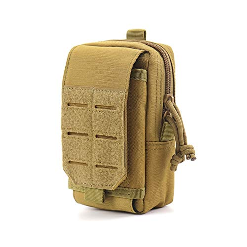 Outdoor Nylon Tactical Molle Pouch Men Waist Belt Bag Outdoor Sport Purse Mobile Phone Case Army Military EDC Pack Hunting Tool Bag for Outdoor Hiking Fishing Bum Bag (Color : Khaki Bag)