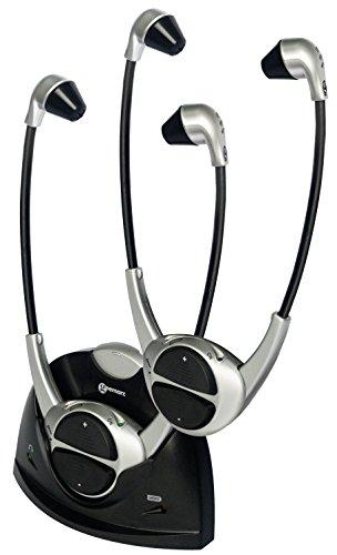 Geemarc CL7310 Duo - 2 Digitale TV Funk-Kinnbügelhörer mit Mikrofon, getrennte Lautstärkeregelung, Ladestation, bis zu 125 dB