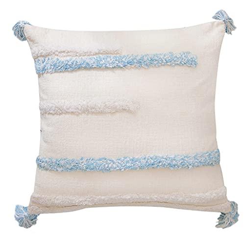 Exing Fundas de cojín, funda de almohada de estilo popular nórdico, 1 funda de almohada con borla geométrica de estilo marroquí nórdico, 45 x 45 cm, funda de almohada creativa para sofá