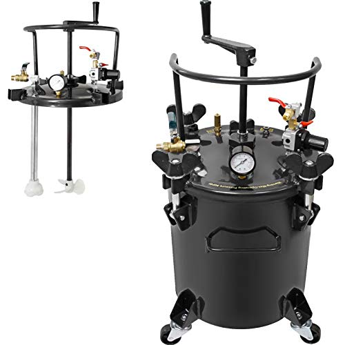 VEVOR Pressure Pot 2.5 Gallon 10 Liters Spray Paint Pressure Pot Tank with Manual Mixing Agitator Paint Tank (2.5Gal Manual)