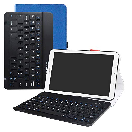 LFDZ Samsung Tab E 9.6 T560 draadloos toetsenbord Hoesje,2 in 1 afneembare draadloos toetsenbord PU Leather Case Hoes Voor Samsung Tab E SM-T560 / T561 / T565 9.6-Inch Tablet,Blauw