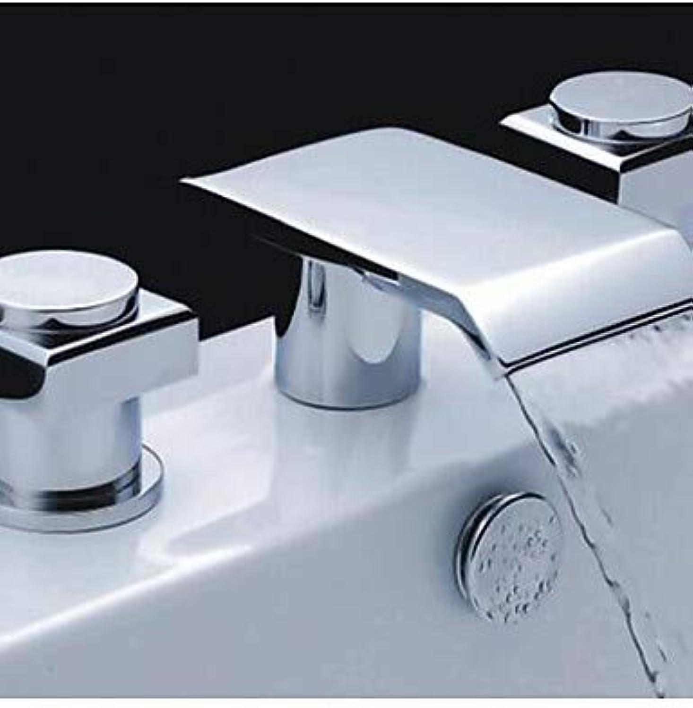 LPZSQ Tippen Sie auf Zwei Griffe aus Messing verchromt Breite Wasserfall Waschbecken Wasserhahn  561