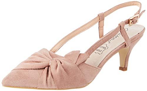 Greatonu Damen Sandalen Schleife Kitten Absatz Slingback Pointed Toe Rosa Größe 39EU