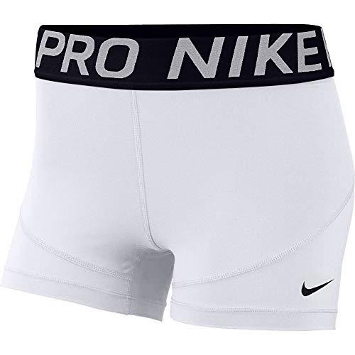 """Nike Women's Pro 3"""" Training Short (White/Black/Black, Small)"""