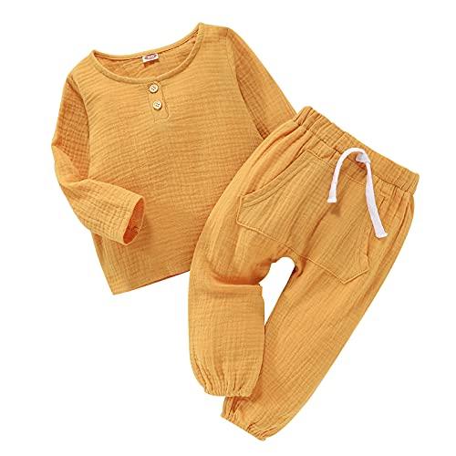NBAA Kleinkind Baby Fester Baumwolle und Leinen Pyjama Zweiteiliger Anzug Mädchen Jungen Gemütlich Einfarbiger Langarm Hemdpullover Fleece Oberteil Top + Pluderhosenanzug Outfits Set
