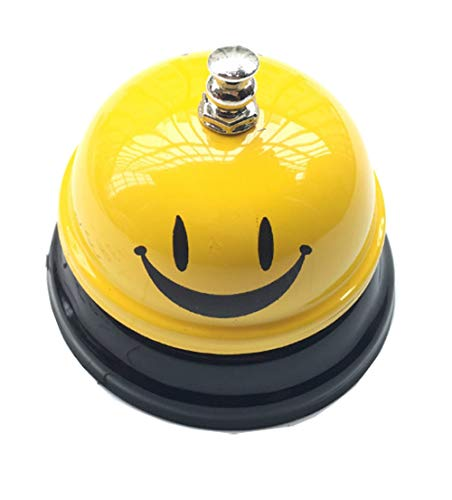 shun yi Call Bell Service Bell for The Kitchen Restaurant Bar Classic Concierge Hotel Use Hand Bell (Smile)
