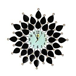 Home Décor Large Wall Clock Black Leaf Metal Decorative Starburst Wall Accent Silent Clock 26'' White Glass Dial for Living Room,Bedroom,Kitchen