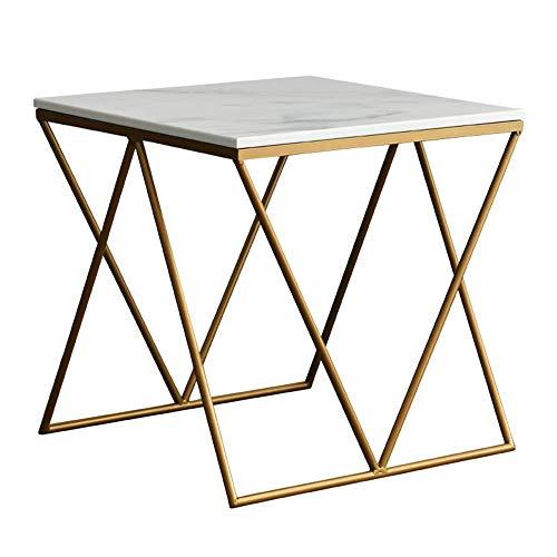 Home&Selected Nordic salontafel, marmer, landelijke stijl, 19,6 inch, 19,6 inch, wit