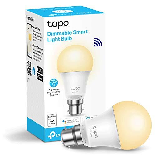 TP-Link Tapo Smart Bulb, Wi-Fi Smart Switch, B22, 8.7W, funktioniert mit Amazon Alexa (Echo und Echo Dot), Google Home, dimmbar, weiches Warmweiß, kein Hub erforderlich, Device Sharing (Tapo L510B)