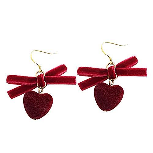 Demarkt 1 par de pendientes con forma de corazón, para niñas, tamaño 7,4 cm x 7,4 cm