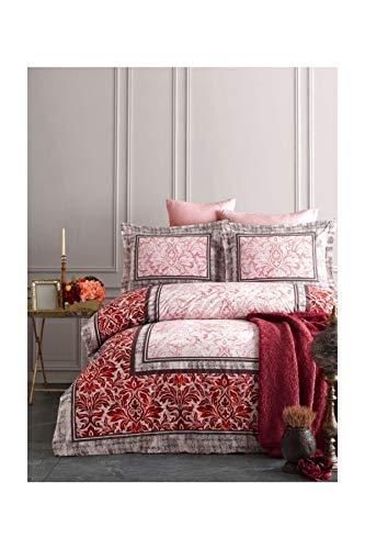 TAÇ Istanbul Versailles - Juego de funda de edredón y funda de almohada para cama de matrimonio, color rojo claro