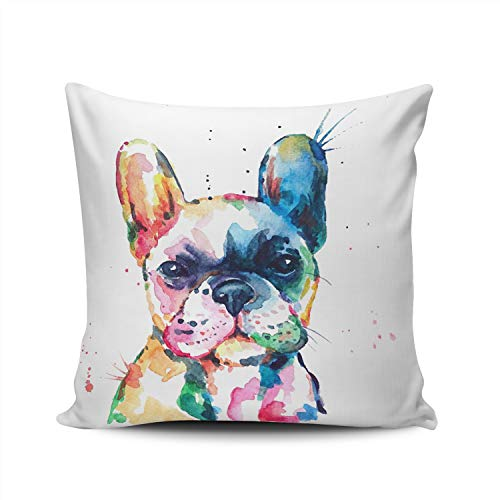 KELEMO Square Pillowcase Watercolor French Bulldog 24X24 Inch Throw Pillow Covers Decoration for Sofa Bed Double Sided Printed (Set of 1)