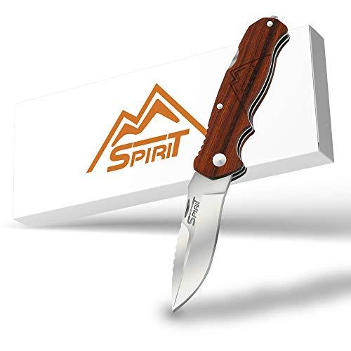 OUTDOOR SPIRIT® Zweihand Klappmesser 2 in 1 - Taschenmesser mit scharfer Edelstahlklinge 440C - Zweihandmesser mit Holzgriff - Outdoor-Messer für Camping & Wandern (Holz - Redwood)