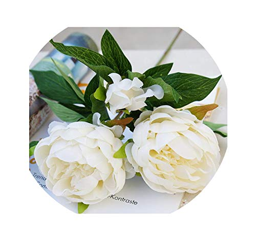 Vicky-fake flowerrs Artificial Flowers Peony 3 Heads Silk Flowers Home Decoration Wedding Flowers,White-3 Head