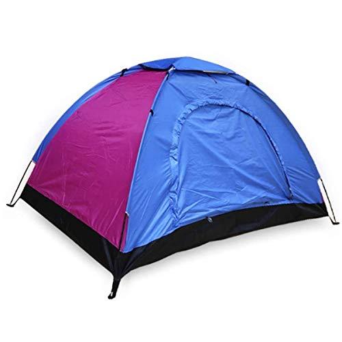 ALLPER Tienda de campaña de fácil Montaje, Polyester y Varillas de Acero Resistente. 2 Personas, Color: Azul Y Rosa. Medidas: 200 x 130 x 105 cm. Impermeable.
