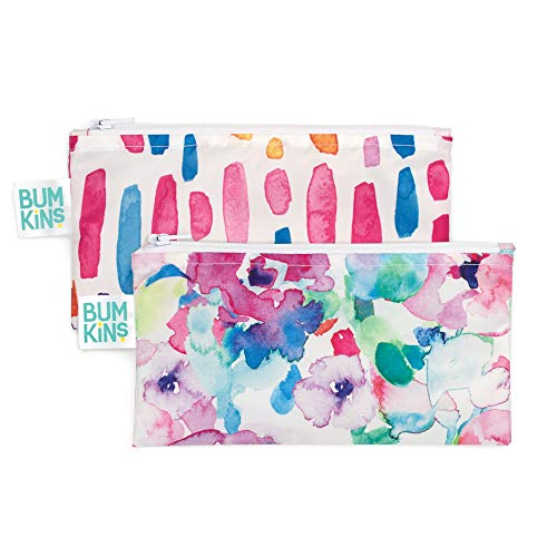 Bumkins Snack Bags Reusable Washable Food Safe BPA Free 2Pack – Watercolor amp Brushstrokes