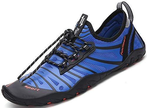 SAGUARO Escarpines Hombre Mujer Zapatos de Agua para Natación Buceo Snorkel Surf Piscina Playa Vela Mar Río Aqua Acuáticos Calzado de Transpirable Secado Rápido, Azul 38