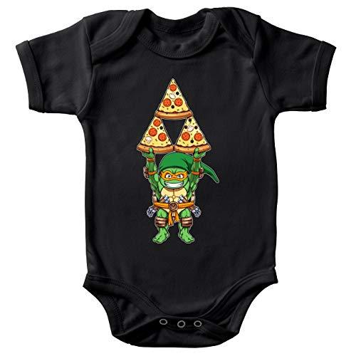 Body bébé manches courtes Noir parodie Tortues Ninja - Zelda - Michelangelo se prend pour Link de Zelda - Triforce 4 fromages(Body bébé de qualité supérieure de taille 3 mois - imprimé en France)