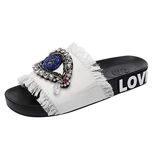 iHENGH 2019 Nuovo Scarpe Pantofola Strass Solido Moda Casual Estivo Donna Sandali Infradito Spiaggia Elegante Trasparenti Ragazza Estate Shoes Flat Women Fashion Summer
