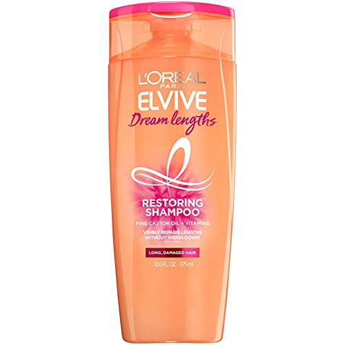 L'Oreal Paris Elvive Dream Lengths Restoring Shampoo with Fine Castor Oil and Vitamins B3 and B5 for Long, Damaged Hair, Visibly Repairs Damage Without Weighdown With System, 12.6 Fl; Oz