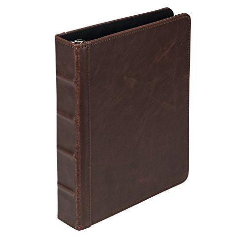 Samsill Vintage Hardback Jr. Book Style 3 Ring Binder, 1 Inch Round Ring, Holds 200 Sheets - Dark Brown