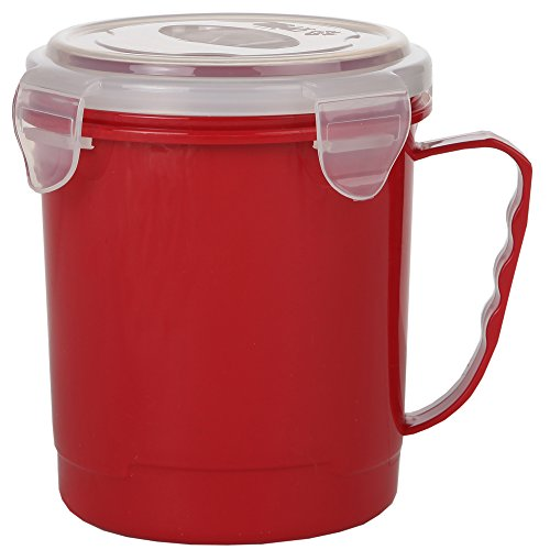 Home-X - Microwave Soup Mug with Secure Snap Close Vented Lid, 22 Ounce Mug Allows You to Heat and Eat Soups, Noodles, Hot Cereal and More in a Single Container, Red