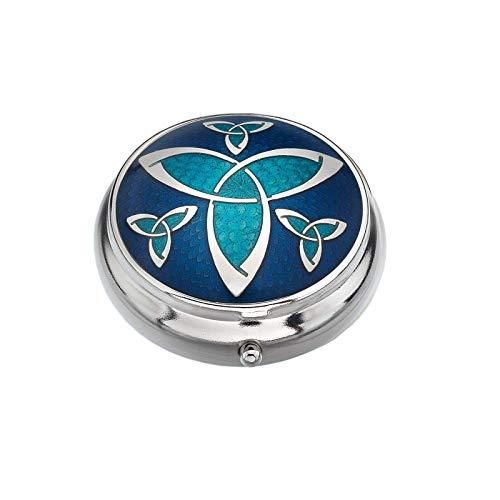 Sea Gems Pastillero Chapado en Plata Celta Nudo Trinity Azul Caja