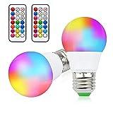 LED電球 E26口金 昼光色 RGB 調光 調色 led マルチカラー16色選択 リモコン操作 記憶機能付き タイミング機能 3W 発光角120度 LED飾りライト 雰囲気照明 リモコン付き(2個入り 16色選択+昼光色)