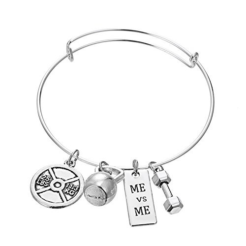 Love Dream Stainless Steel Fitness Weightlifting Gym Dumbbell Weight Plate Barbell Charm Bangle Bracelet Me VS Me