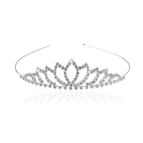 Pixnor tiare nuptiale strass Decor Hairband cheveux Clip cheveux boucle diadème de mariage