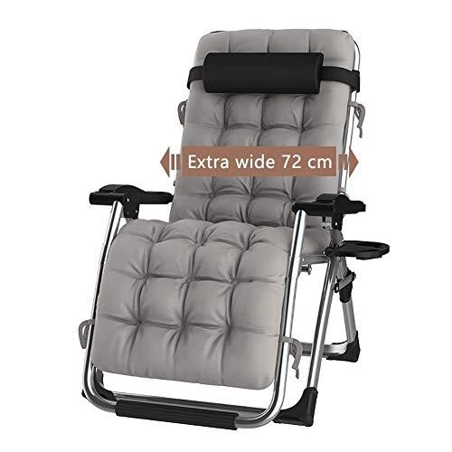 DQCHAIR Sillas Plegables Sillas reclinables de tumbonas para tumbonas para la Playa Patio Jardín Acampar Al Aire Libre Portátil Home Lounge Chair Soporta 200 kg Negro (Color : with Gray Cushions)
