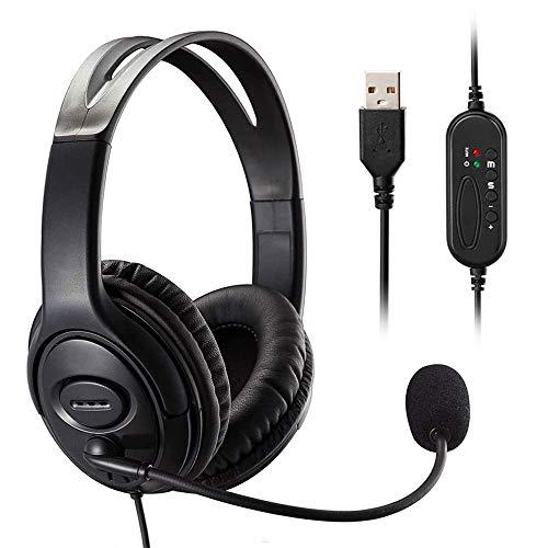 MKTBA Auriculares para Ordenador, Auriculares para PC, Auriculares USB Ultra cómodos con micrófono con cancelación de Ruido y Controles de Audio, Voz más Clara súper livianos estéreo (Black)