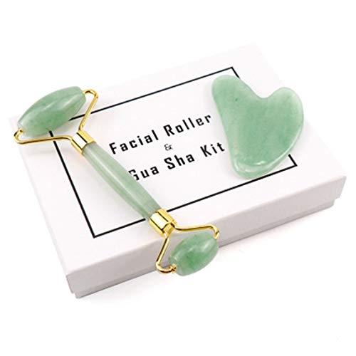 SeniorMar Jade Roller Heartshape Gua Sha Set Dongling Jade Rose Quartz Roller Massaggio Golden Holder Cristallo Di Giada Naturale Originale