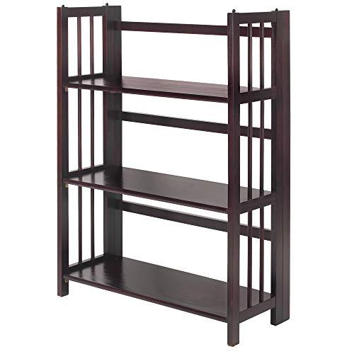 "Casual Home 3-Shelf 27.5"" Wide Folding Stackable Bookcase, Espresso (New)"