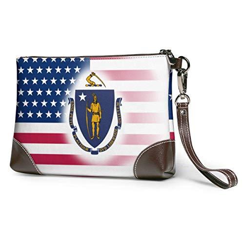 bolso de mano de cuero para mujer EE.UU. Bandera del estado de Massachusetts Monederos de cuero Carteras de mano Carteras de teléfono Estuche de maquillaje Neceser de baño Estuche de cosméticos para
