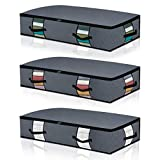 Large Under Bed Storage Bags Conatiners Bins[3pack] Washable Thick Cloth Underbed Storage Containers with Reinforced Handles with Sturdy Zipper, Clear Window for Bedding,Comforters, Blankets