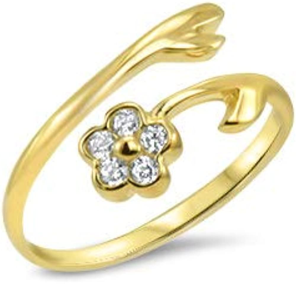 Denver Mall 2021 10k Yellow Gold Toe Ring CZ. Adjustable Clear Size Flower