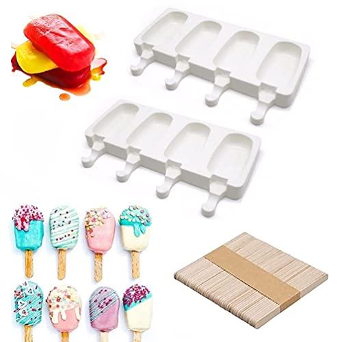 Eisformen 2 Stück 8 Zellen Silikon-Eisformen Eis am Stiel Silikon Mould Kreative DIY Eiscreme Stick Gefrorenes Dessert Eis am Stiel (mit 50 Stück Holzstäbchen )