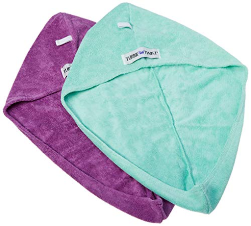 Turbie Twist Microfiber Hair Towel (2 Pack) Aqua-Purple