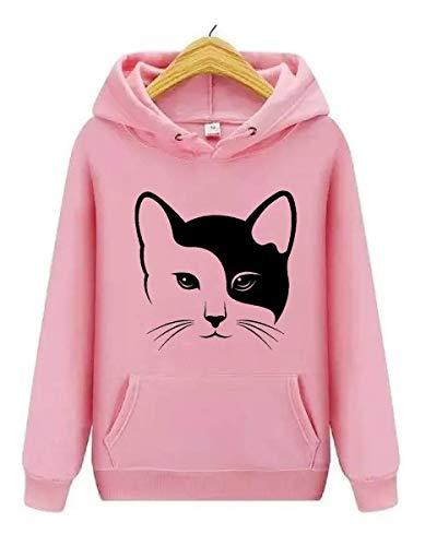 Blusa Moletom Feminina Canguru Gato Cat Animais Love Estampa (GG, Rosa)