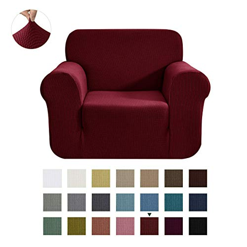 CHUN YI Stretch Chair Piece Couch Cover Furniture Protector, 1 Seater Coat Sofa-slipcovers, Small, Wine