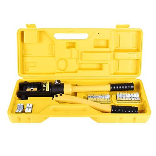 Careslong Crimpadora Hidráulica Alicates para Engarzar Alicates de 16-300 mm² Alicates para Engarzar Terminales de Cable con 8 pares de Matrices (16T)