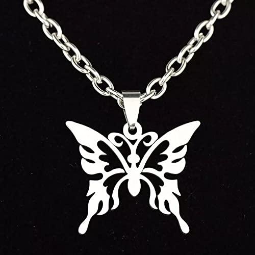 YQMJLF Collar Moda Accesorios Collares Mujer Nuevo Collar de Mariposa Hueca de Estilo Punk, Collar de eslabones de Cadena de Animales Grandes de Acero Inoxidable para Mujeres, joyería de Fiesta