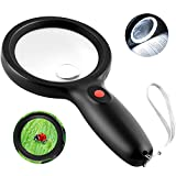 Tobegiga 8X-15X Real Glass Magnifying Glass with Light, Bright 18 LEDs Handheld Magnifier, Ideal Gift for Seniors, Macular Degeneration, Lighted Lens for Reading Small Print, Books, Inspection, Coins