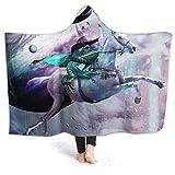 Manta de forro polar con capucha Inaayi, manta de forro polar con diseño de rana épica, unicornio espacial, tiburón, supersuave, manta para cama, sofá, ligera, para viajes, camping, para niños y adultos, negro, 80'x60'